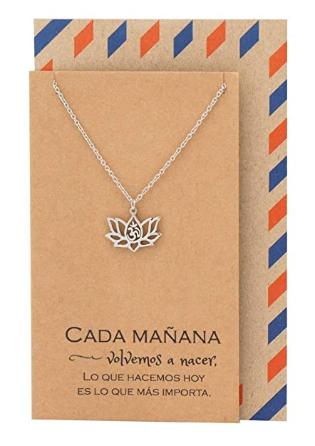 Amazoncom Quan Jewelry Om Lotus Necklace In Spanish Gifts For