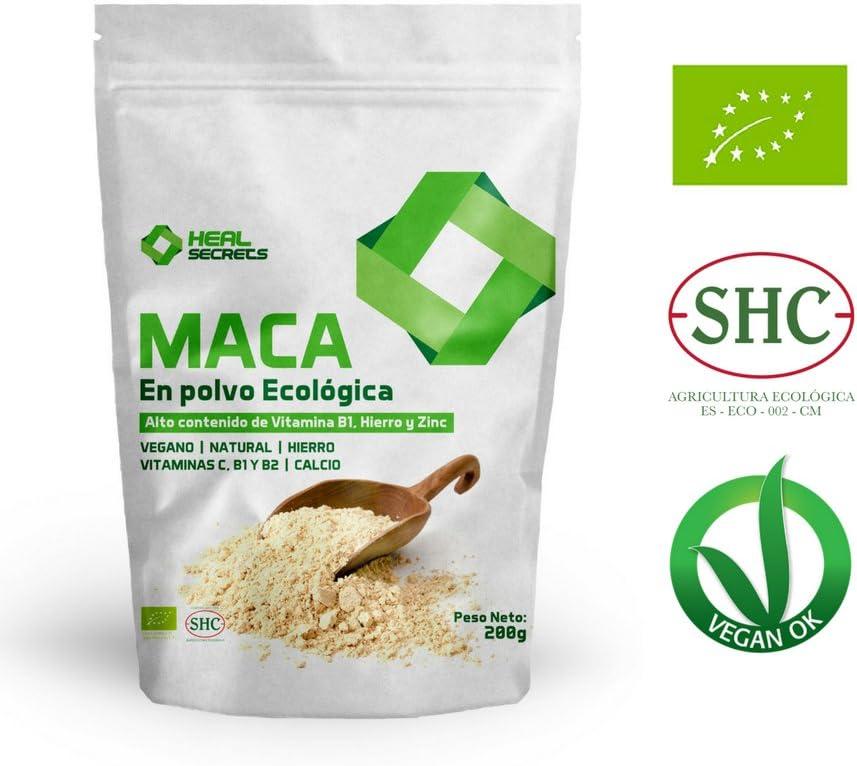 Maca en Polvo Organica Superalimentos Heal Secrets Alto contenido de Vitamina B! Hierro y Zinc 100% Vegano Polvo de Maca Orgánico Premium
