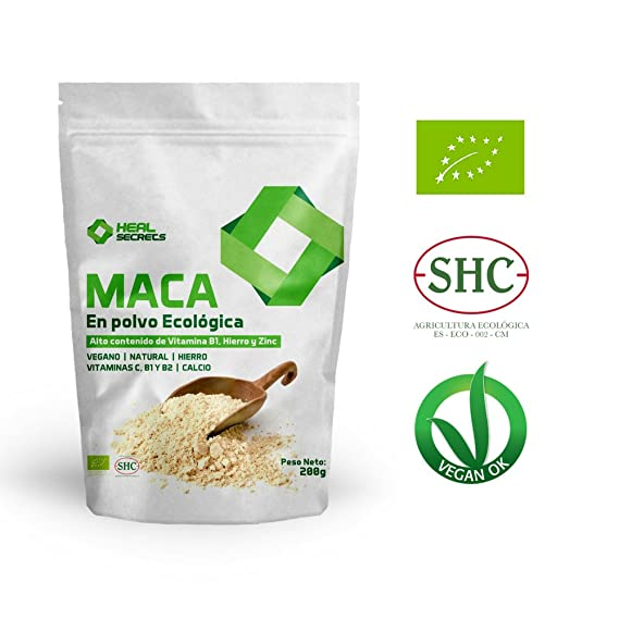 Maca en Polvo Organica Superalimentos Heal Secrets Alto contenido de Vitamina B! Hierro y Zinc