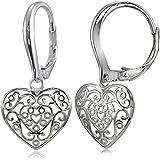 Sterling Silver High Polished Filigree Heart Dangle Leverback Earrings
