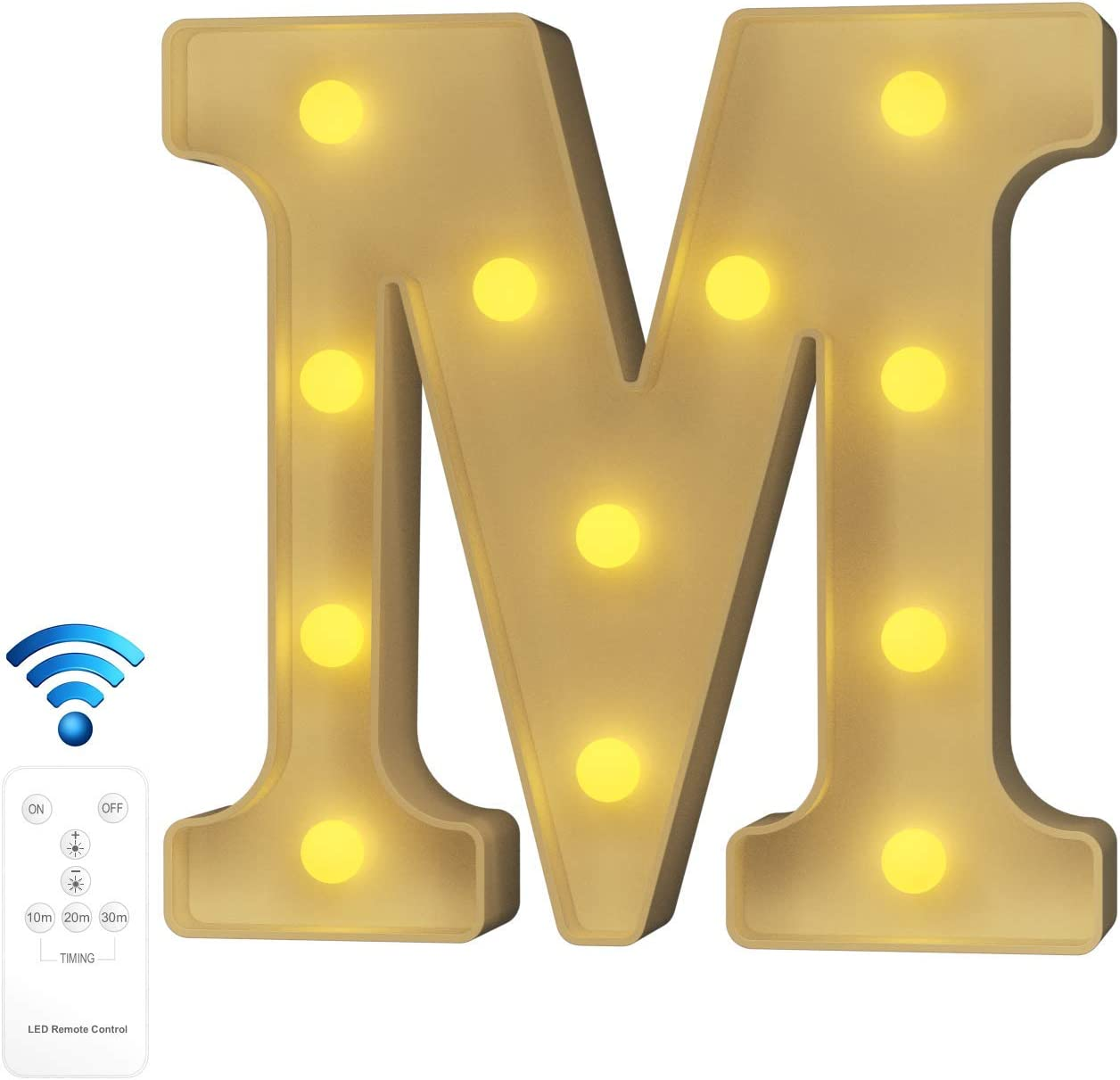 YOUZONE Newly Upgrade LED Letter Lights Marquee Alphabet Light Up Letters with Remote Control Timer Dimmable Battery Powered for Events Wedding Party Birthday Home Bar Decoration (RC-M)