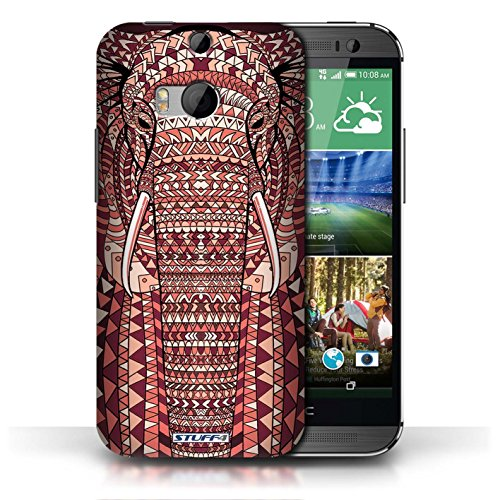 Etui / Coque pour HTC One/1 M8 / éléphant-Rouge conception / Collection de Motif Animaux Aztec