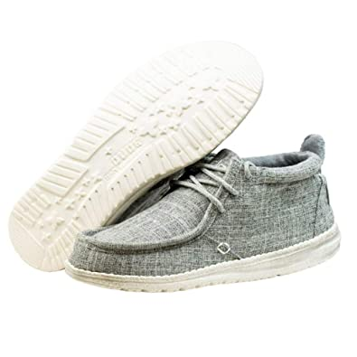 Hey Dude CONRAD Mens Canvas Lace Up Moccassin Shoes Olive  Amazon.co ... 289bb1a10bf
