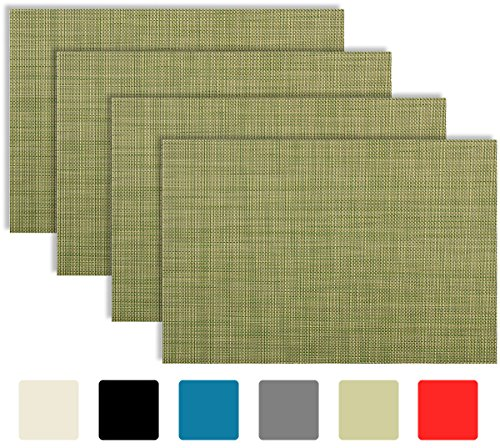 Green Toile Baby Accessories (Placemat Set of 4/6 Cross Bamboo Style Kitchen Table Decor Woven Vinyl Table Placemats Set Home Dinner Decorative Reversible by Secret Life (6,Green))