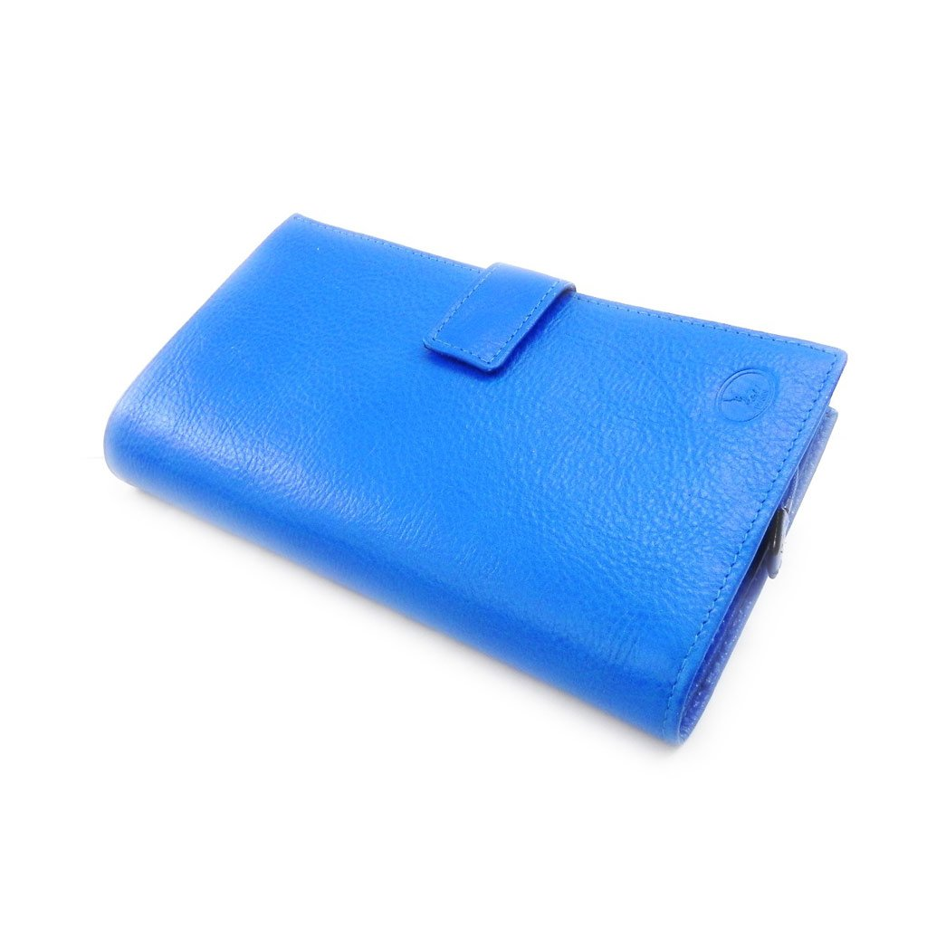 Wallet + checkbook holder leather 'Frandi' royal blue green york.
