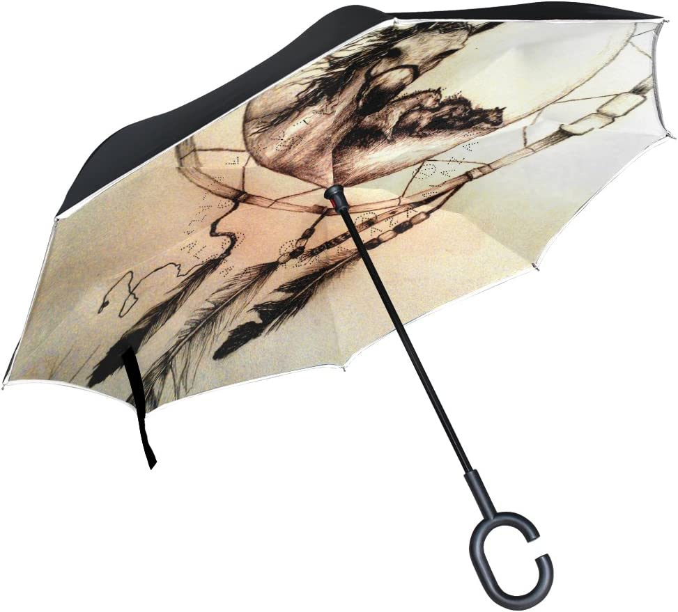 rodde Le Parapluie invers/é de Cheval de Double Couche de Voitures renverse Le Parapluie de Pluie Coupe-Vent pour la Voiture ext/érieure avec la poign/ée en Forme de C