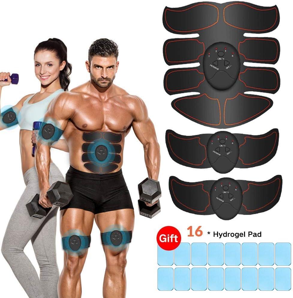 iThrough Estimulador Muscular Abdominales, EMS Electroestimulador Muscular Abdominales, ABS Estimulador Muscula para Hombre/Mujer