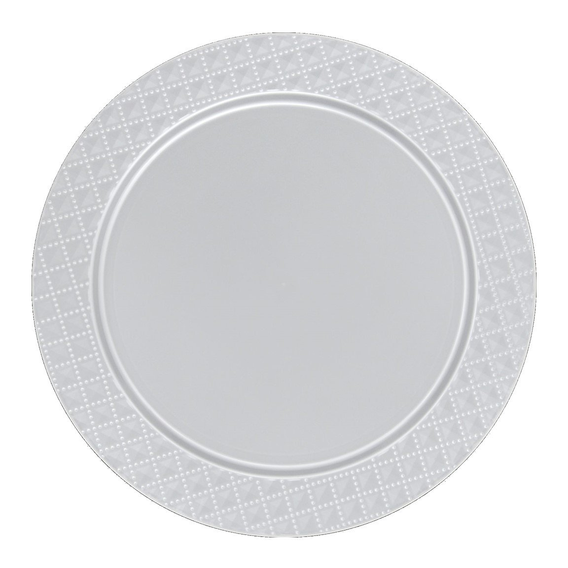 Posh Setting Clear Charger Plates, Diamond Design, Medium Weight 13 inch, Round Plastic Chargers 10 pack