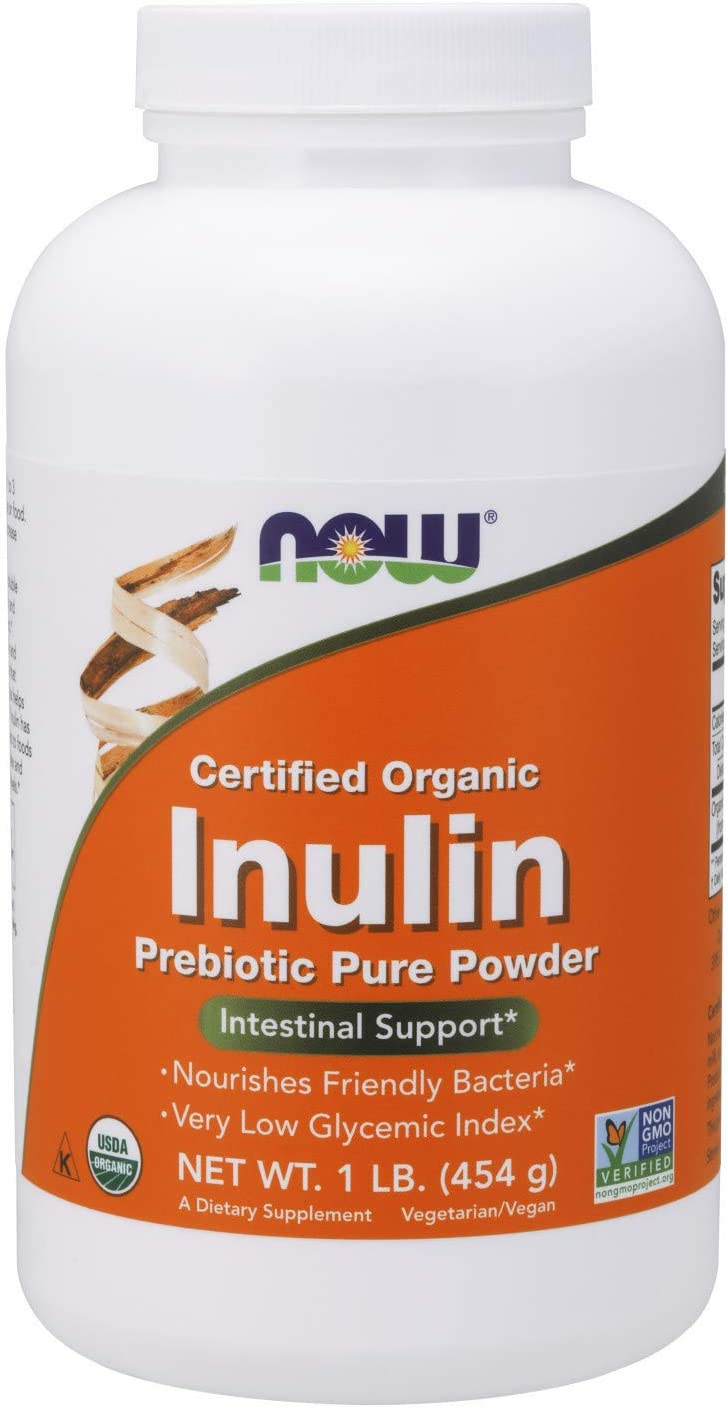NOW Supplements, Organic Inulin Prebiotic Pure Powder, Low Gylcemic Index, 1-Pound