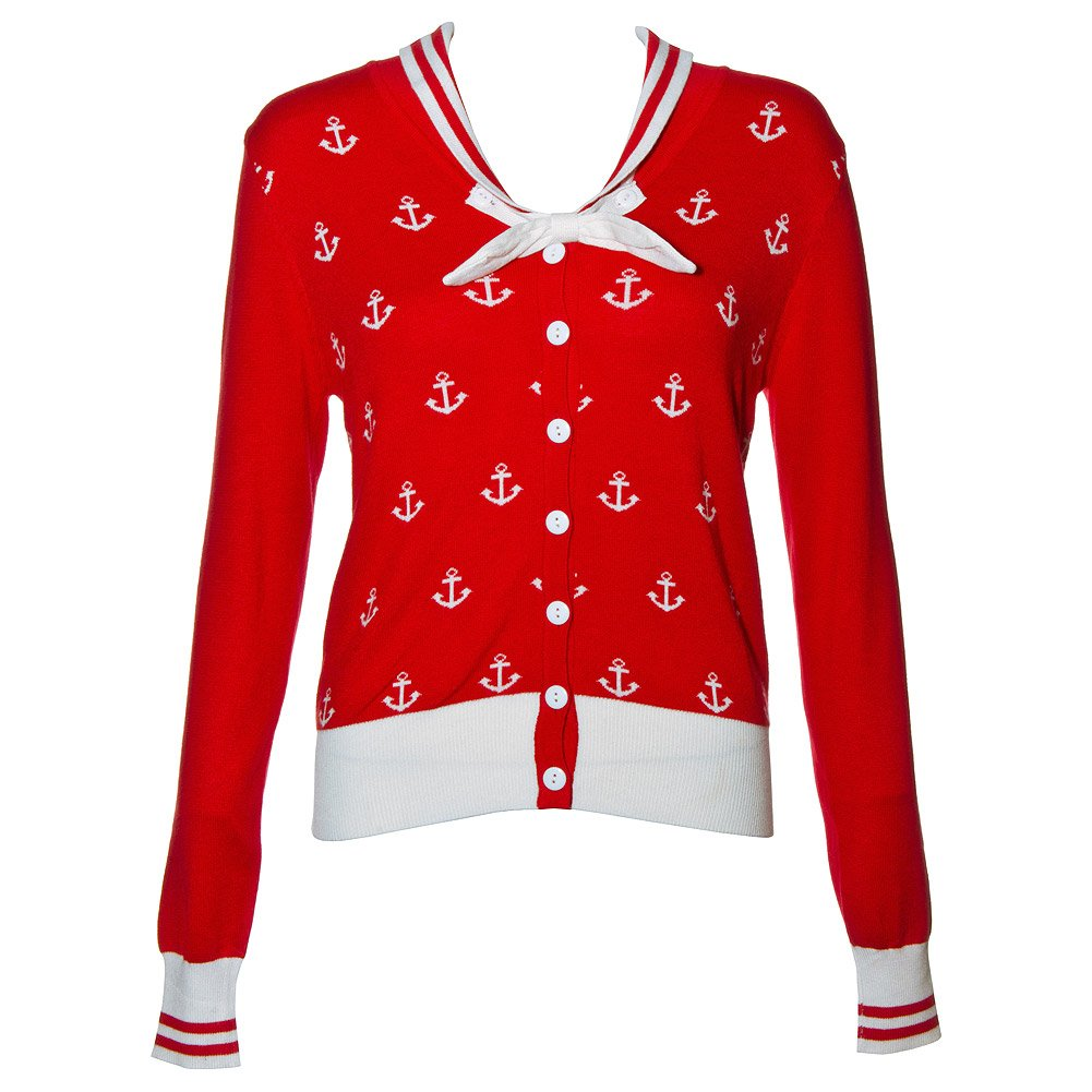 1950s Style Sweaters, Crop Cardigans, Twin Sets Banned Pinup Sailor Sail Away Mini Anchor with Bow Cardigan $55.00 AT vintagedancer.com