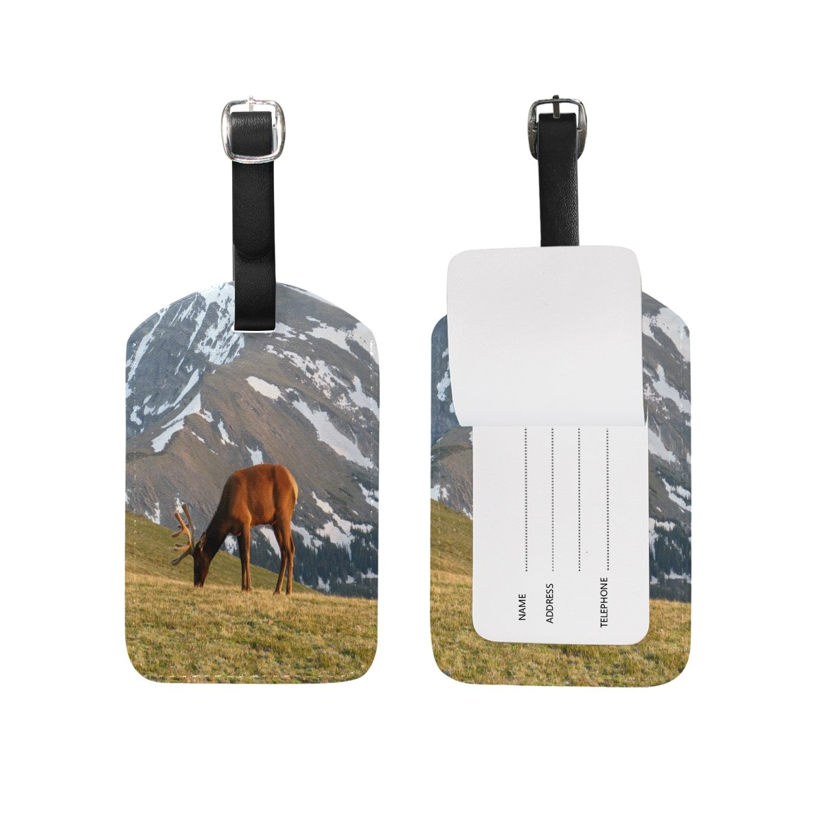 Saobao Travel Luggage Tag Snow Mountain And Elk PU Leather Baggage Suitcase Travel ID Bag Tag 1Pcs