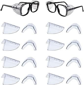 DEDC 8 paar veiligheidsbril zijbescherming, myopische bril beschermhoezen, antislip veiligheidsbril zijbescherming flexibele zijbescherming voor kleine of middelgrote brillen