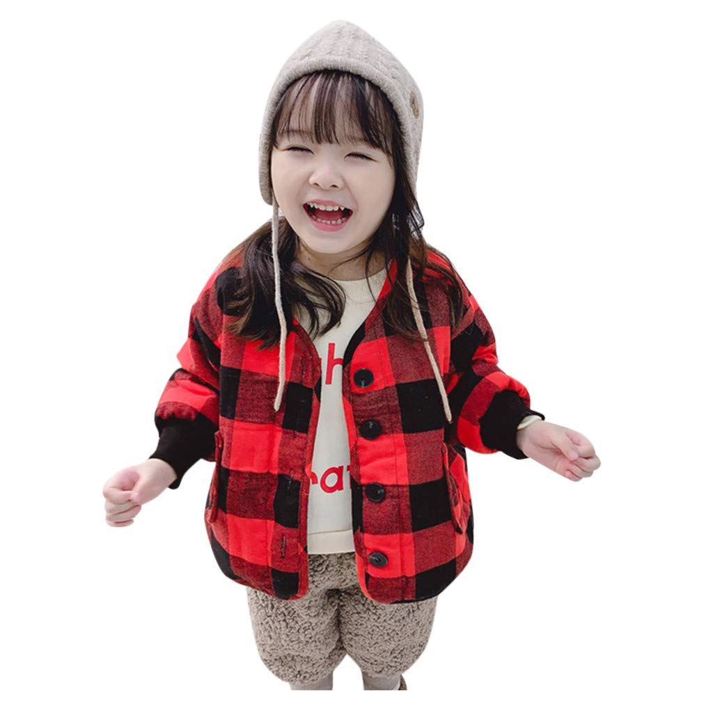 Lataw Toddler Outerwear Baby Coat Winter Autumn Kids Boys Girls Plaid Print Sweatershirt Knit Fashion Pullover Jackets by Lataw
