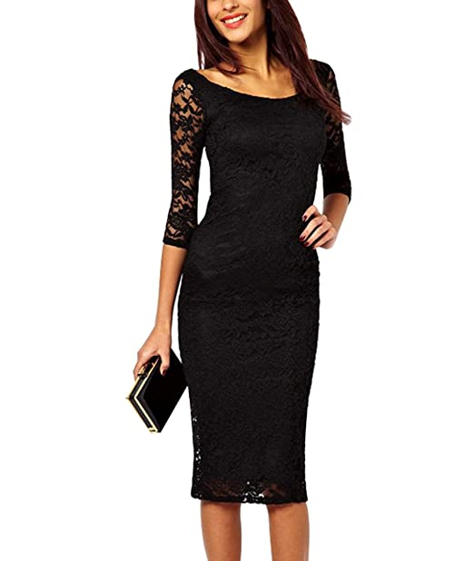 337f7a2d15 Zyyfly Women's Crew Neck 3/4 Sleeve Lace Bodycon Midi Floral Cocktail  Evening Party Formal Dress at Amazon Women's Clothing store: