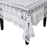 SARO LIFESTYLE 869 Crochet Tablecloths, 72 by 126-Inch, Oblong, White