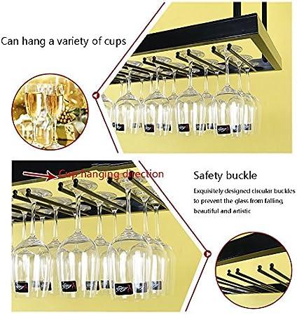 MKJYDM Barra De Hierro Estante De Copa De Vino Colgante Portavasos Copa Colgante Estante De Vino Soporte De Exhibición En El Hogar estantería de Vino (Size : 50 * 35cm)