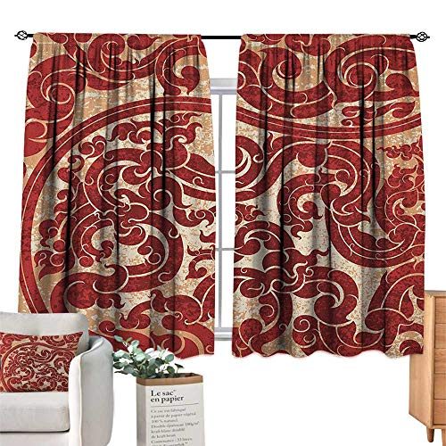 ParadiseDecor Antique,Room Darkening Curtains Thai Culture Vector Abstract Background Flower Pattern Wallpaper Design Artwork Print Blackout Curtains for Bedroom W55 x G39