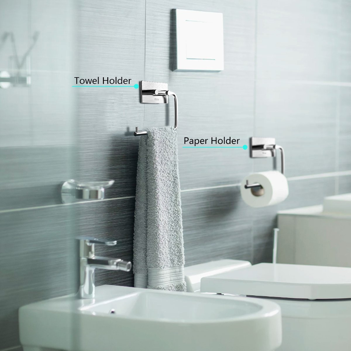 3M Self Adhesive Toilet Roll Paper Holder, YECO Brushed Stainless ...