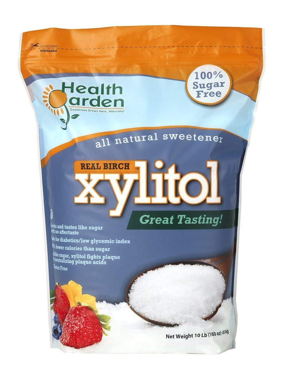 Health Garden Birch Xylitol Sugar Free Sweetener, All Natural, Non GMO (Not from Corn (10 LB) by HEALTH GARDEN