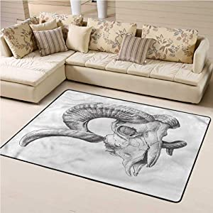 Area Rug Skull, Scary Mountain Goat Skeleton Shag Fur Carpet for Sofa Bedroom Modern Accent Home Decor 3 x 5 Feet