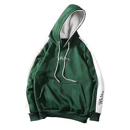 Yazidan Herren Herbst Winter warme Patchwork Hip Hop Hoodie Pullover Langarm Kängurutasche Hoodie | Einfarbiges Hemd | Kordel