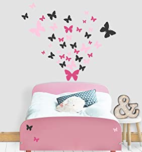 Butterfly Wall Decals Beautiful Girls Wall Stickers Wall Art Vinyl Stickers for Bedroom Peel and Stick Kids Room Decor Nursery Toddler Teen Decorations Playroom Birthday Gift (Pink,Hot Pink,Black)
