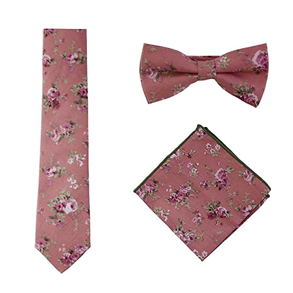 Skinny Floral Ties Set for Mens Cotton Necktie Hanky Bowtie Wedding Cravat (Pink)