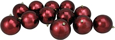 "12ct Burgundy Red Shatterproof Shiny UV-Resistant Christmas Ball Ornaments 4"" (100mm)"