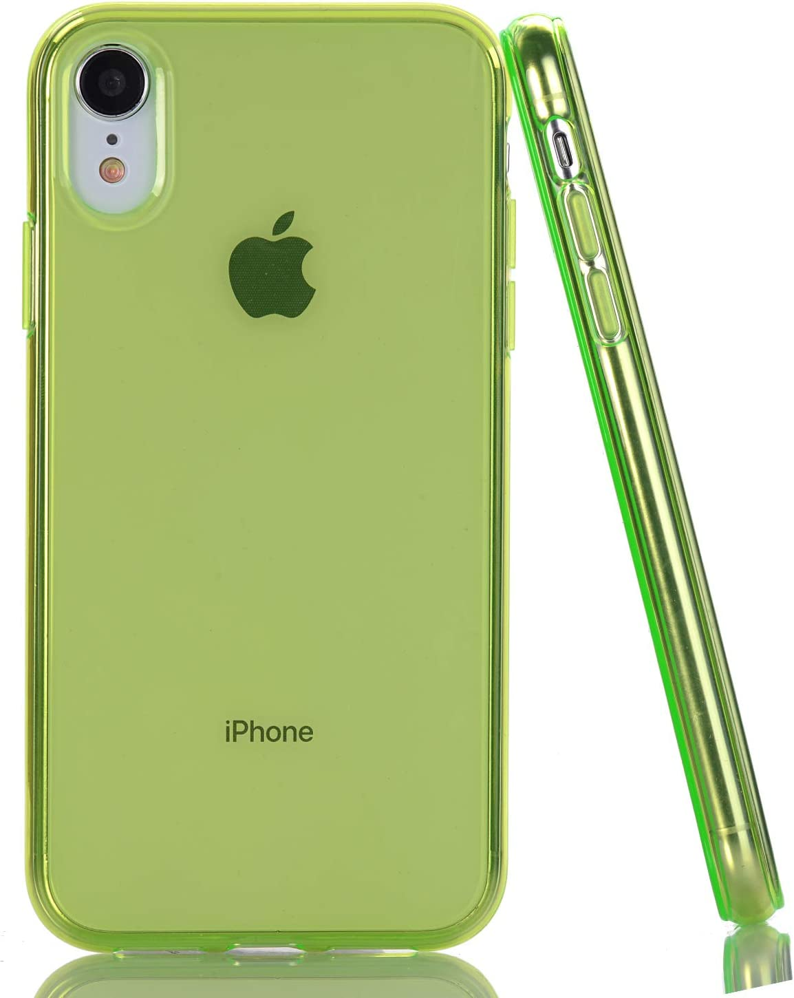 6.1 inch BAISRKE Green Clear Case for iPhone XR Slim TPU Bumper Glossy Flexible Soft Silicone Rubber Compatible with iPhone XR