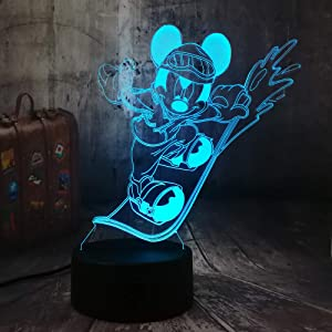 New Novelty Cool Surfing Mickey Mouse 3D LED Night Light USB Desk Sleep Lamp Home Decor Child Boy Kid Toy Holiday Christmas Lampara(Surfing Mickey)