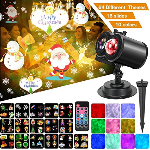 Ocean Wave Christmas Projector Lights, Remote Control 2-in-1 Moving Patterns W/Water Wave LED Landscape Holiday Night Lights Waterproof Outdoor Indoor Xmas Party Yard Garden Decorations, 16