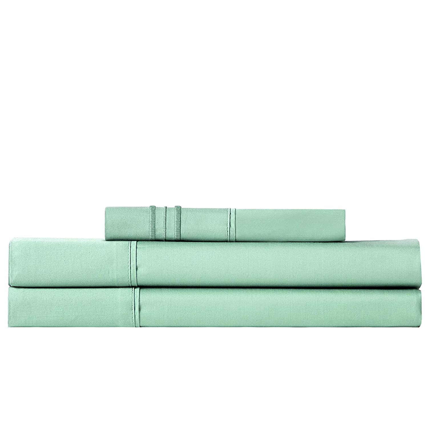 1 INCH Twin Sheet Set, 3 Piece 1800 Series Premium Brushed Microfiber Bed Sheets, Breathable Cooling Comfy Bedding Deep Pocket Toddler Room, Guest Room, Hotel, RV (Light Green, Twin)