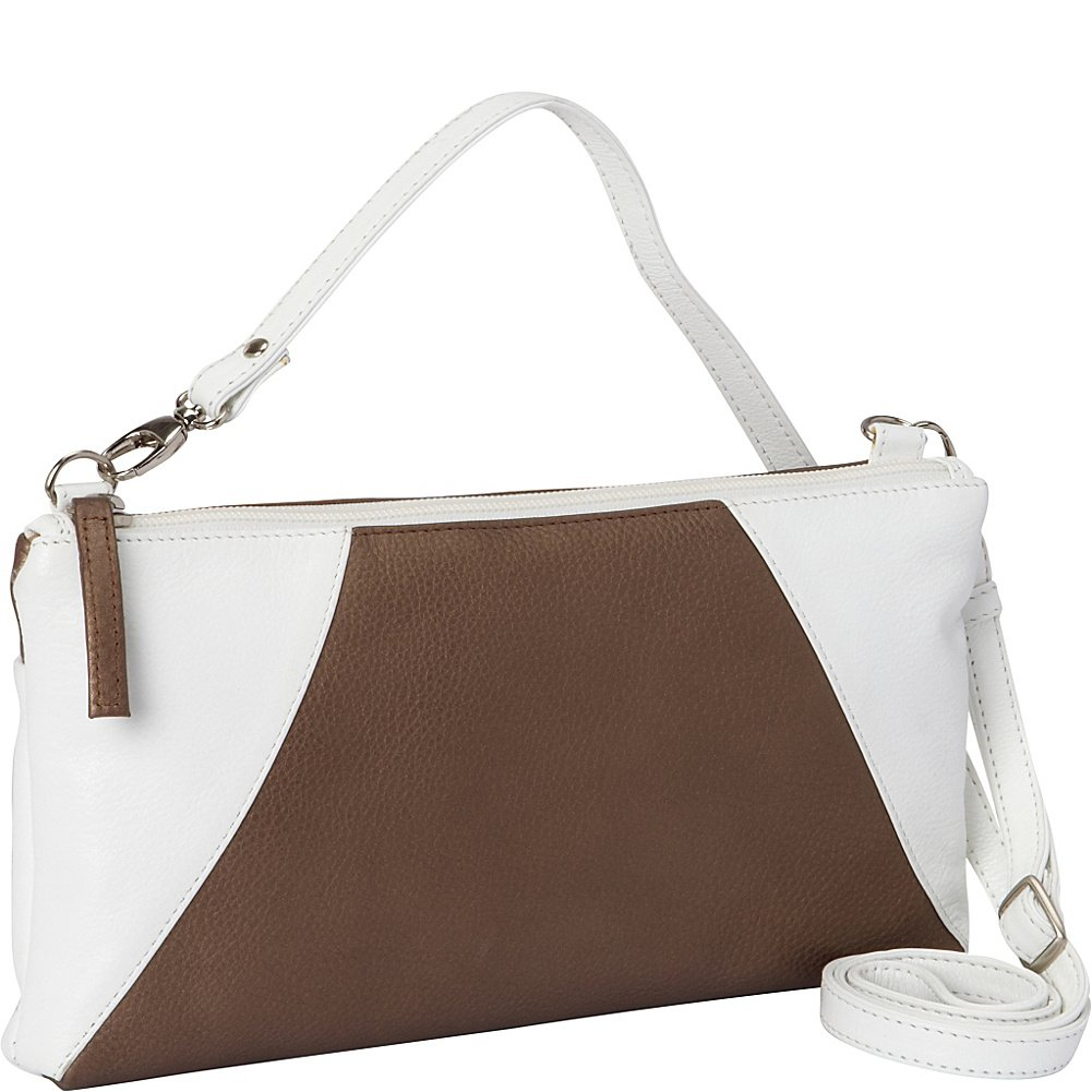 Derek Alexander EW Top Zip Clutch (White and Bronze)