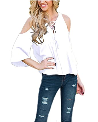 9a3c482c516d5b ZANZEA Women s Sexy Summer Casual Solid Loose Off Cold Shoulder Lace Up  Half Sleeve Tops Blouse