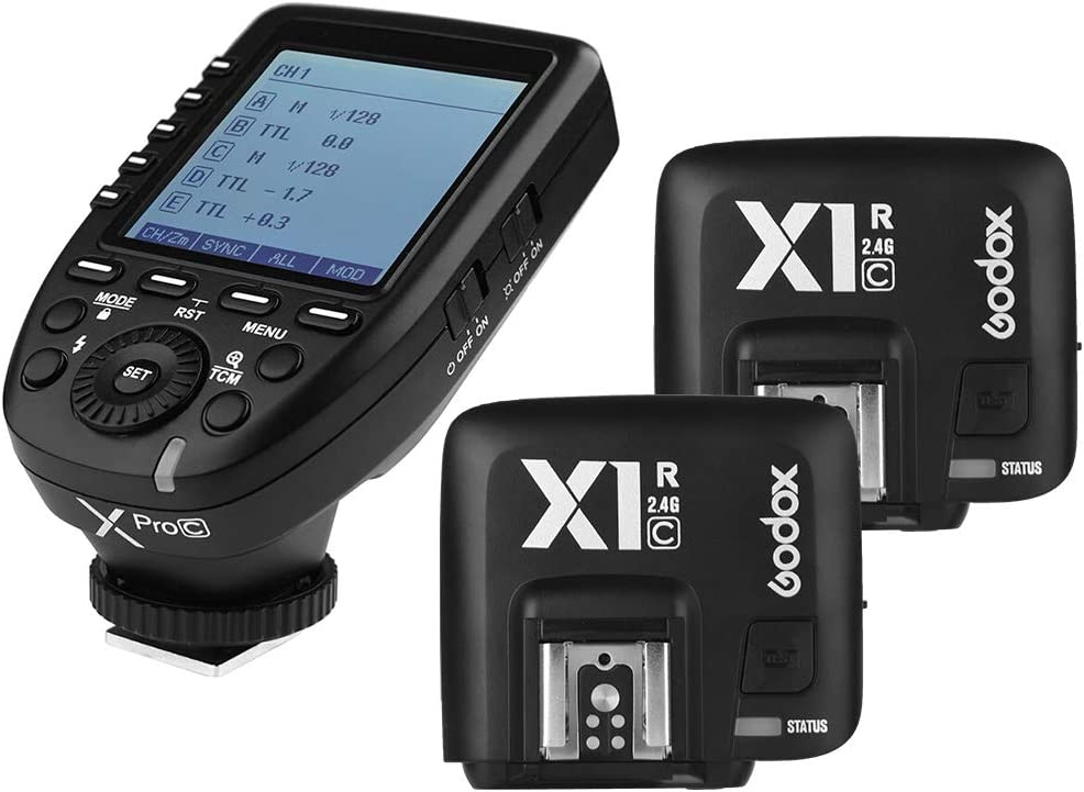 Godox Xpro-C 2.4G X System TTL Wireless Flash Trigger Transmitter & 2 X1R-C Controller Receiver for Canon Flash