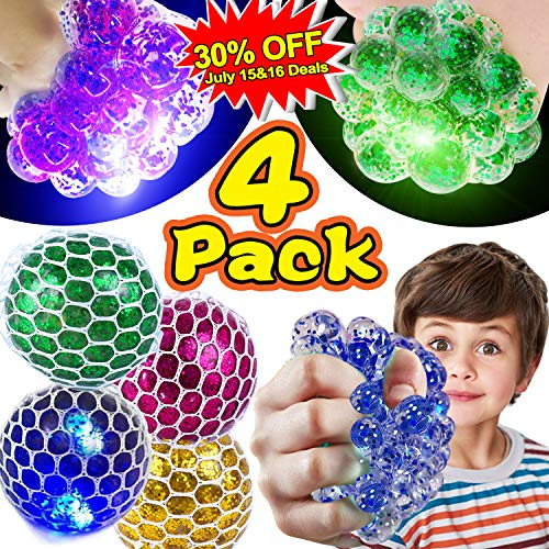 - 【Upgrade】Led Mesh Stress Grape Ball Stress Relief Balls Squeeze Ball Toys Stress Ball Stress Relief Balls for Kids & Adult Anti-Stress Ball 2019 Prime 4th of July Holiday Birthday Back to School Gifts