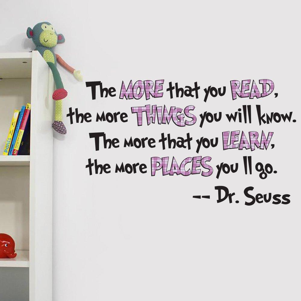 Vu0026C Designs Ltd   Dr Seuss The More You Read Quote Childrenu0027s Room Kids  Room Playroom Nursery Wall Sticker Wall Art Vinyl Wall Decal Wall Mural    Regular ... Part 74