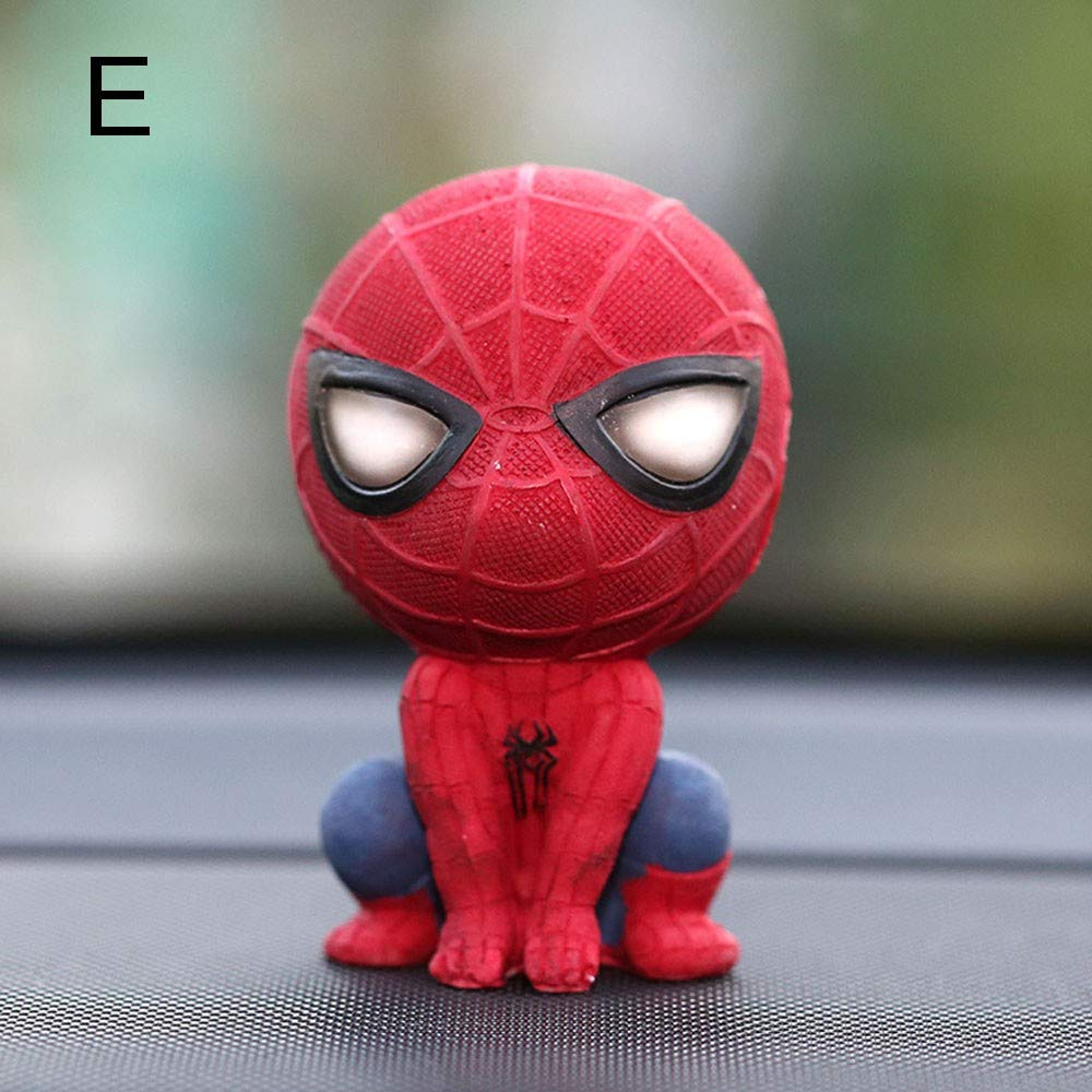 GZXYYY Cartoon car spiderman model head shake jewelry resin magnet dashboard interior decoration accessories doll gift embellishment,G