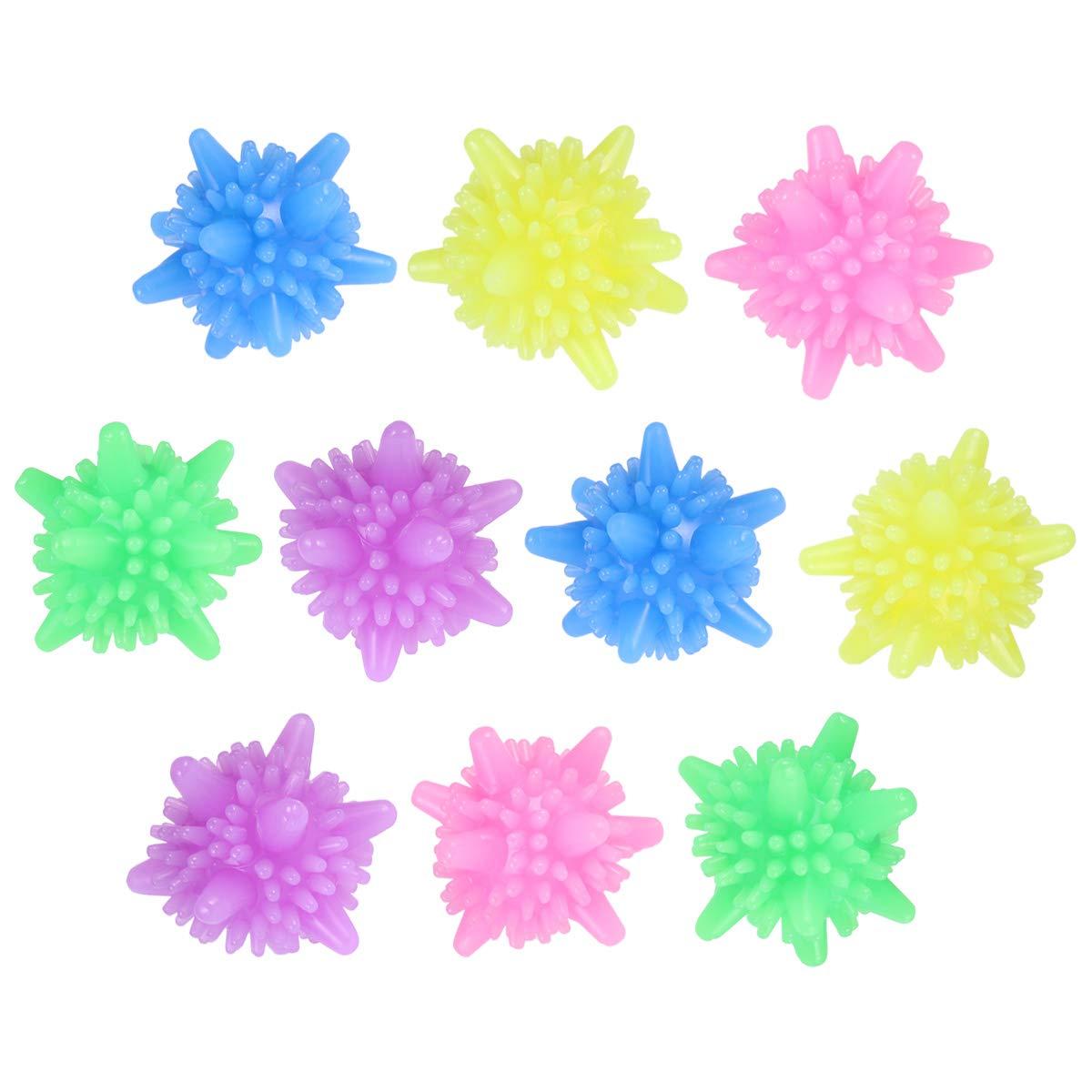 colori misti OUNONA Palline riutilizzabili della lavatrice riutilizzabile della palla della lavanderia variopinta solida di 10 PCS per i vestiti di pulizia