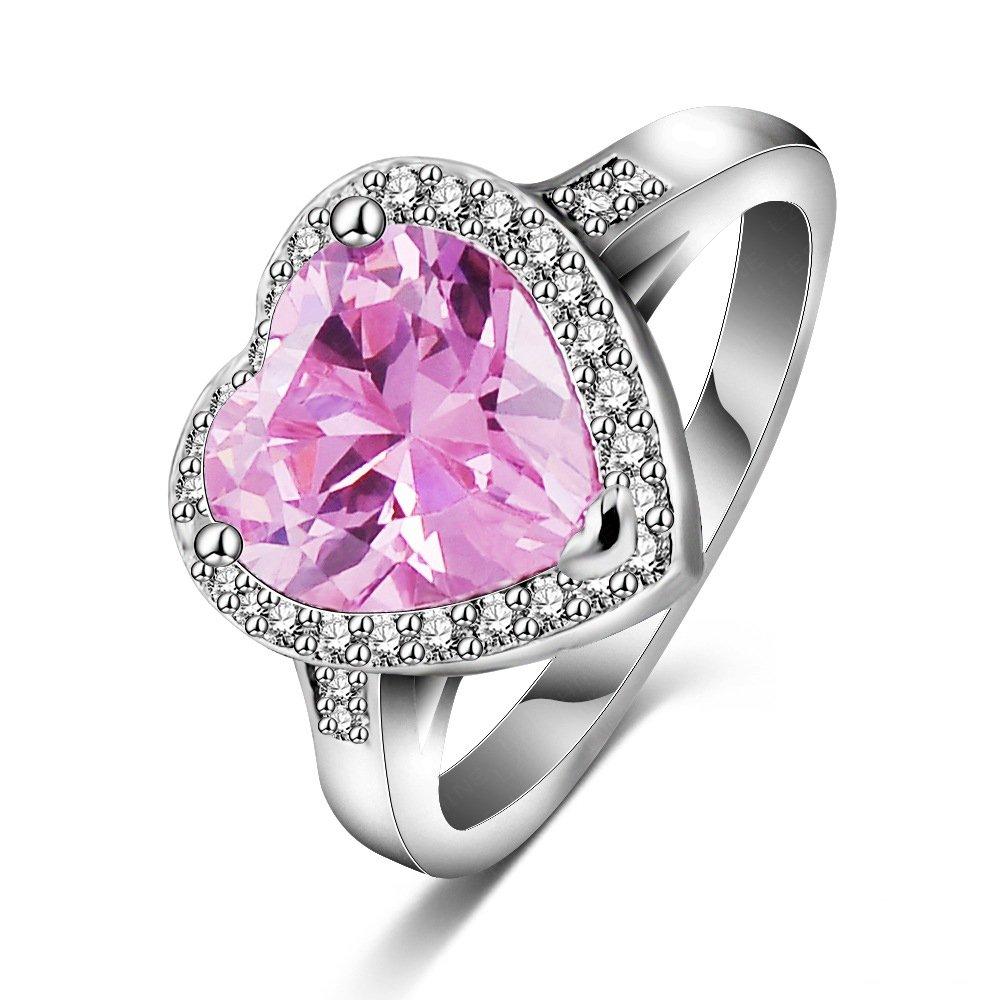 Amazon.com: LuckyWeng New Exquisite Fashion Jewelry Platinum Heart ...