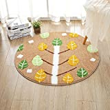HOMEE Home room round non-slip carpet child bedroom bedside foot pad study computer chair basket mat,150Cm,4