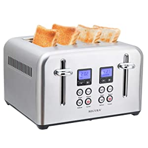 Secura Toaster 4 Slice Stainless Steel Extra Wide Slots for Bagel Bread with Defrost Reheat Function Removable Crumb Tray Compact Size