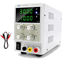 DC Power Supply Variable 30V 10A Switching Regulated 4-Digital Power Supply Single-Output 220V, with Free Alligator…