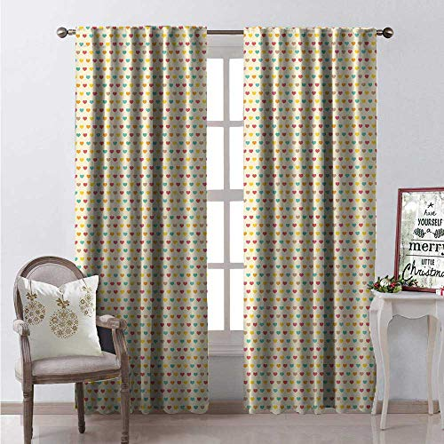 Road Trip Traditional American (Neutral Colors Room Darkening Wide Curtains Love Themed Rainbow Colored Valentines Day Hearts on Earthy Toned Background Waterproof Window Curtain W120 x L108 Multicolor)
