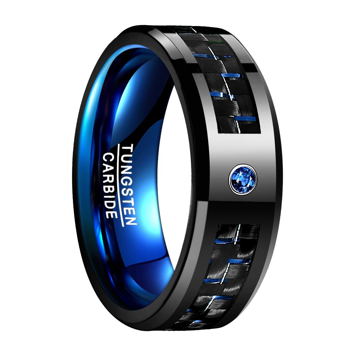 Nuncad 8mm Black and Blue Carbon Fiber Inlay Tungsten Carbide Ring Engagement Wedding Band Size 10