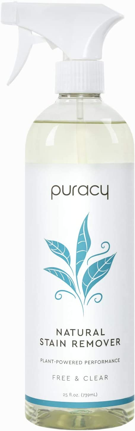 Puracy Natural Laundry Stain Remover, Enzyme-Based Spot Cleaner, Free & Clear, 25 Ounce