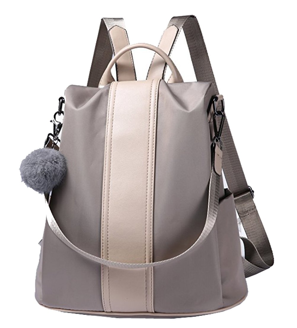 Women Backpack Shoulder Bag Purse Waterproof Nylon Rucksack School Bookbag (Khaki)