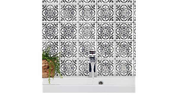 Valencia mediterráneo azulejos Stencil – Español Moorish muebles suelo pared diseño, Medium A3: Amazon.es: Hogar