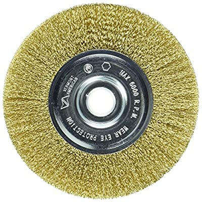 Vermont American 16800 5-Inch Fine Brass Wire Wheel Brush with 1/4-Inch Hex Shank for Drill