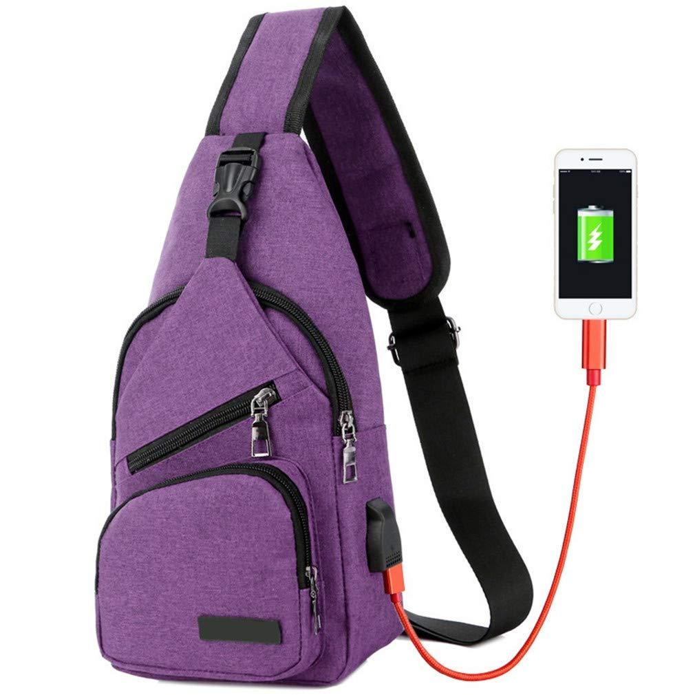 Men Anti-Theft Messenger Bags Handbags USB Charging Port Travel Sling Bag Crossbody Chest Pack Purple